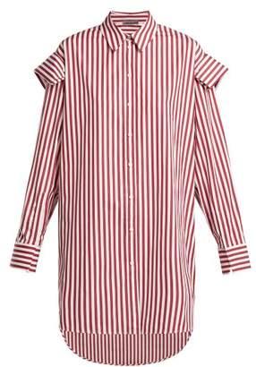Alexander McQueen Oversized Striped Cotton Shirt - Womens - Burgundy Stripe