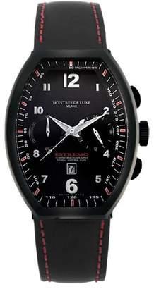 Montres de Luxe Men's EXN 8003 Estremo Titanium and Aluminum Luminous Leather Date Watch