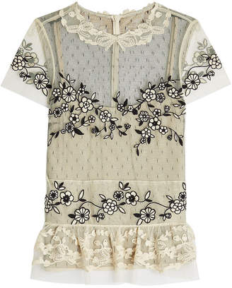 RED Valentino Embroidered Lace Top