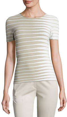 Armani Collezioni Alternating-Stripe Short-Sleeve Sweater, Beige/Multi