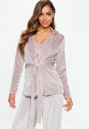 Missguided Pink Velvet Glitter Tie Waist Blazer