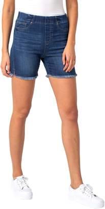 Liverpool Frayed Hem Pull-On Denim Shorts