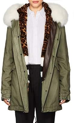 Mr & Mrs Italy Women's Fur-Trimmed & -Lined Cotton Midi-Parka - Dark Gray