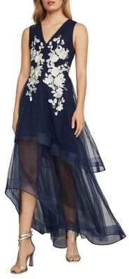BCBGMAXAZRIA Metallic Lace Applique Gown