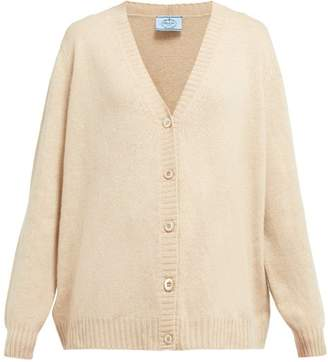 Prada Cut Out Cashmere Cardigan - Womens - Beige