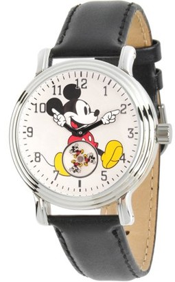 Disney Disney, Articulating Classic Mickey Mouse Women's Silver Vintage Alloy Watch, Black Leather Strap