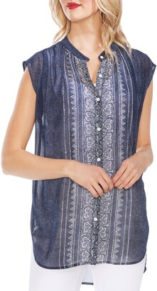 Vince Camuto Woodblock Button Front Top