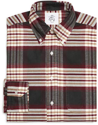Brooks Brothers Khaki Burgundy and Green Plaid Button-Down Shirt