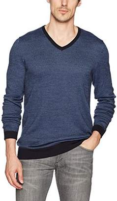 Calvin Klein Men's Merino Birdseye Windowpane V-Neck Sweater