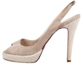 Christian Louboutin Suede Slingback Sandals Beige Suede Slingback Sandals