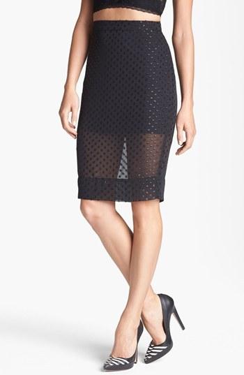 Leith Sheer Pencil Skirt