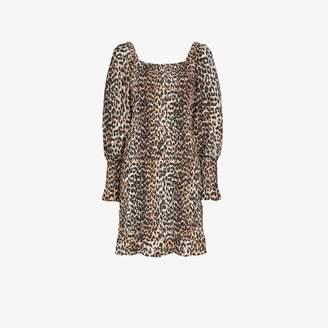 Ganni square neck leopard print mini dress
