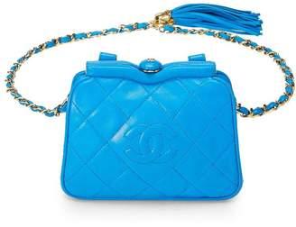 Chanel Blue Lambskin Kiss Lock Belt Bag