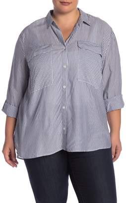 Como Vintage Stripe Button Front Shirt (Plus Size)