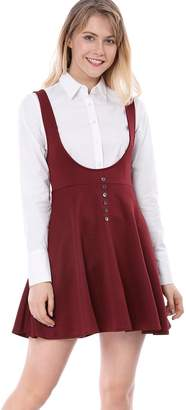 Allegra K Women's Button Decor Flared Hem Above Knee Dress Suspender Skirt M