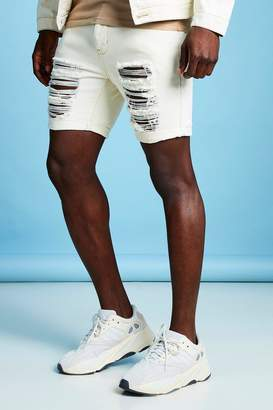boohoo Slim Fit Distressed Denim Short