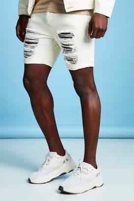 2a372e5a4653 boohoo Slim Fit Distressed Denim Short