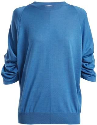 STELLA MCCARTNEY Ruched-sleeve wool-blend sweater