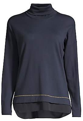 Peserico Women's Wool Chiffon Hem Turtleneck Sweater