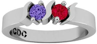 Nana S-Bar Couples 2 stones Ring with His & Hers Simulated - Sterling Silver -Size 9.5