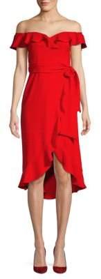 Jay Godfrey Off-The-Shoulder Ruffle Tie Dress