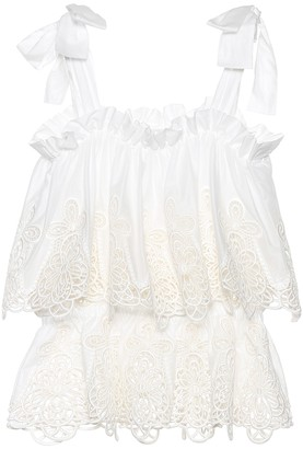 Dolce & Gabbana Broderie anglaise cotton-blend top
