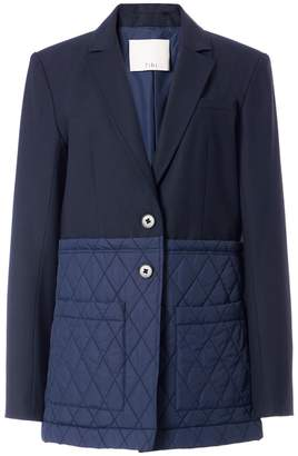 Tibi Quilted Combo Oversized Blazer in Navy