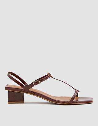 By Far Shoes Krista Patent Leather Sandal in Brown