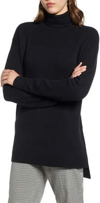 Halogen Turtleneck Wool Blend Tunic Sweater