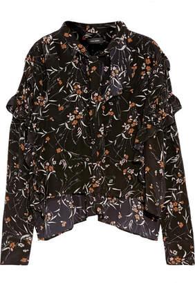 Isabel Marant - Sibel Ruffled Floral-print Silk Blouse - Black