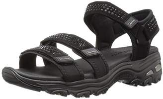 Skechers Women's D'Lites-Retro Glam-Rhinestone River Style Sporty Comfort Sport Sandal