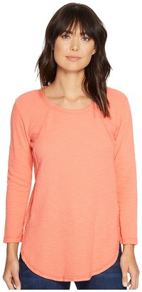 Mod-o-doc - Textured Slub Stripe Raw Edge Seamed Tunic Women's Long Sleeve Pullover $65 thestylecure.com