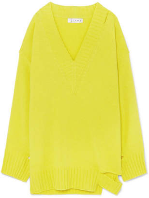 TRE Kirsten Oversized Cutout Cashmere Sweater - Bright yellow