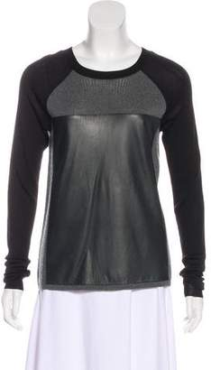 Reed Krakoff Leather-Accented Wool Sweater