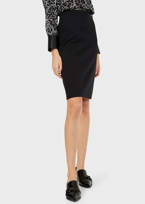 Emporio Armani Pencil Skirt Made Of Milano Stretch-Knit Fabric