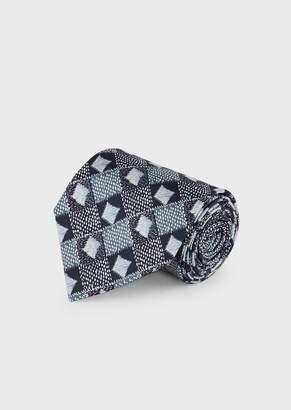 Giorgio Armani Silk Tie With Optical Pattern