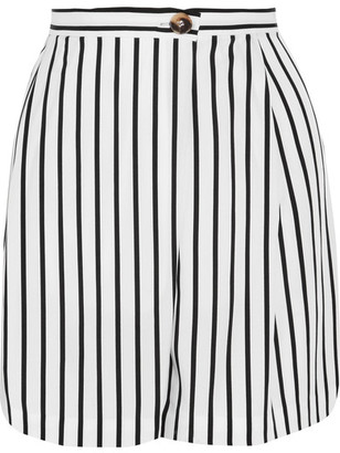 McQ Alexander McQueen - Wrap-effect Striped Twill Shorts - White $395 thestylecure.com