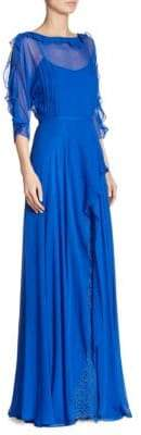 Teri Jon Ruffled Chiffon Silk Gown