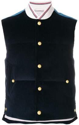 Thom Browne Contrast Yoke Down-Filled Corduroy Vest
