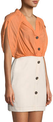Neiman Marcus Rejina Pyo Yana Ruched Short-Sleeve Dress