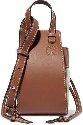 Loewe Hammock Dw Mini Leather And Canvas Shoulder Bag - Tan