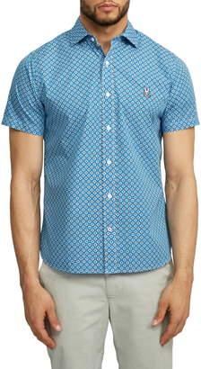 Psycho Bunny Darwell Short Sleeve Pima Cotton Button-Up Sport Shirt