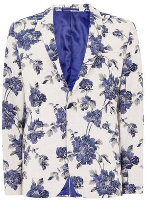 Topman Mens Blue and White Floral Skinny Suit Jacket
