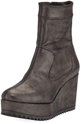 Pedro Garcia Urika Wedge Platform Powder Stretch Ankle Booties