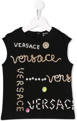 Versace logo print sleeveless T-shirt