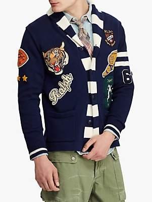 Ralph Lauren Polo Cotton Letterman Cardigan, Navy/Cream