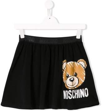 Moschino Kids TEEN logo bear print skirt