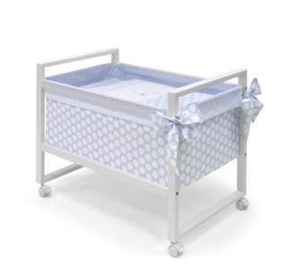 Camilla And Marc Cambrass 56 x 90 x 73 cm Wooden Bedside Crib Next with Fabrics Collection Ter (Blue/White Spotted)