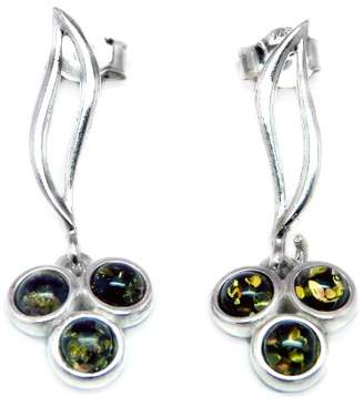 Goldmajor Sterling Silver and Three Green Amber Stone Flower Drop Earrings