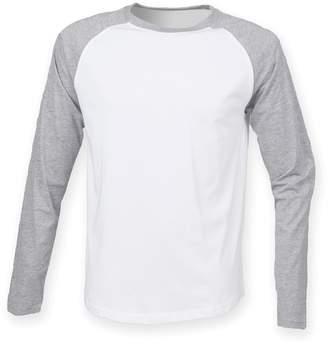 Skinni Fit Skinnifit Mens Raglan Long Sleeve Baseball T-Shirt (M)